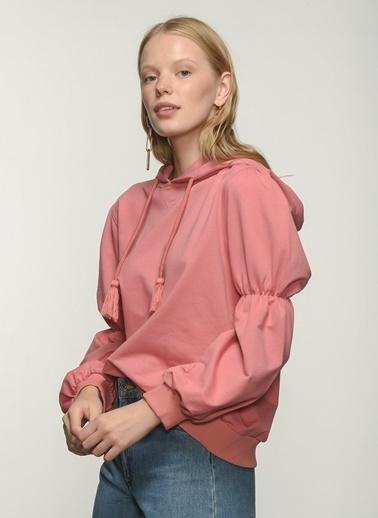People By Fabrika People By Fabrika Kol Detaylı Kapüşonlu Kadın Sweatshirt Gül Kurusu